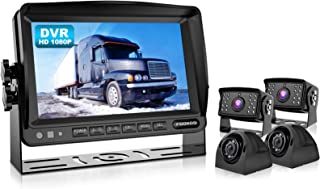 Fookoo HD Backup Camera System, 7'' DVR Split Screen Monitor and Waterproof Rear View Cameras with Parking Lines Reversing for RV/Truck/Trailer/Bus/Semi-Trailer/Tractor/5th Wheel Trailer(FHD4)