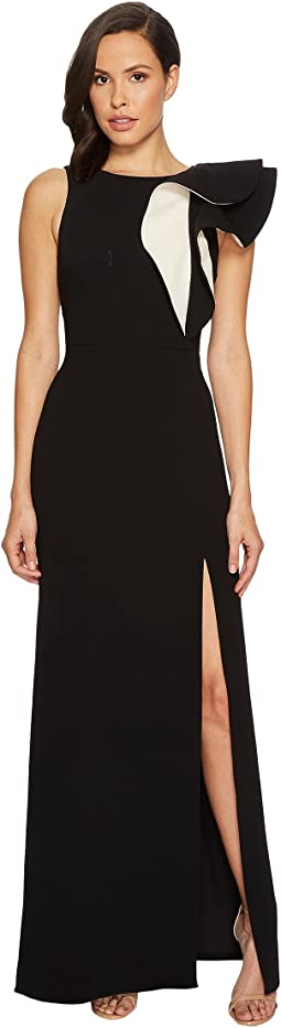 Halston Heritage - Sleeveless Boat Neck Asymmetrical Flounce Gown