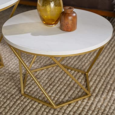 Walker Edison Modern Round Nesting Coffee Accent Table Living Room, Set Of 2, White Marble, Gold