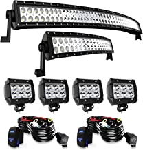 TURBO SII Led Light Bar Curved 52Inch Offroad Led Bar + 22Inch Curved Spot Flood Combo Light Bars + 4PCS 4