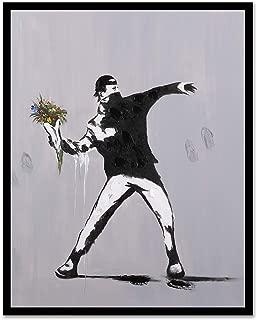 Modern Pop Art Decor - Framed - Rage Flower Thrower Street Art Canvas Print Home Decor Wall Art, Black Real Wood Frame, 24x30