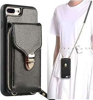 JLFCH iPhone 8 Plus Wallet Case, iPhone 7 Plus Zipper Wallet Case with Card Slot Holder Leather Handbag Buckle Detachable Wrist Strap Long Crossbody Strap Purse for iPhone 7/8 Plus 5.5 - Black
