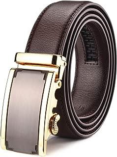 X XHtang Men's Ratchet Belt with Genuine Leather, Slide Belt for men 1 3/8 inches Wide