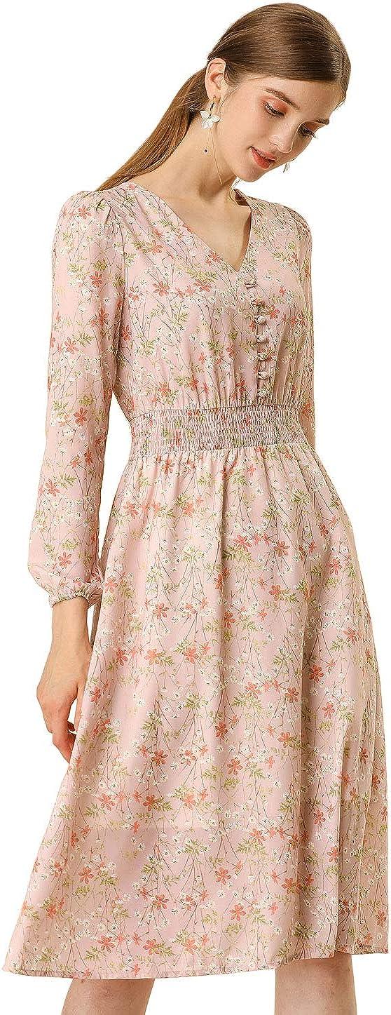 Allegra K Women's Floral Print Flowy V-Neck Midi Dress