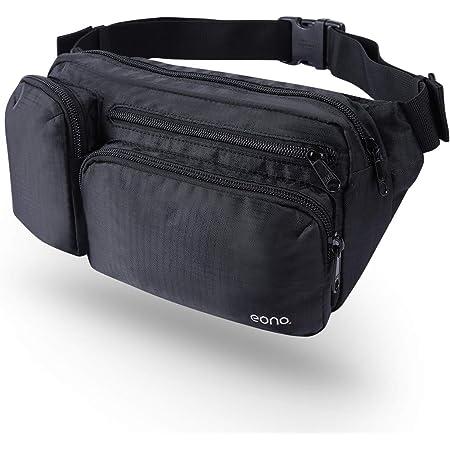 [Amazonブランド] Eono(イオーノ) ウエストポーチ 防水 ウエストバッグ 軽量 4ポケット 収納力抜群 メンズ レディース ヒップバッグ アウトドア 仕事 バイク 釣り 旅行用