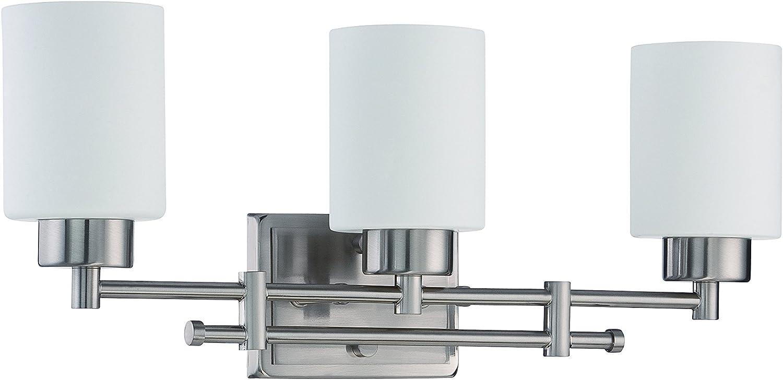 Luminance F3153-80 Transitional 3 Incandescent Light Vanity Fixture with Bright Satin Nickel Finish