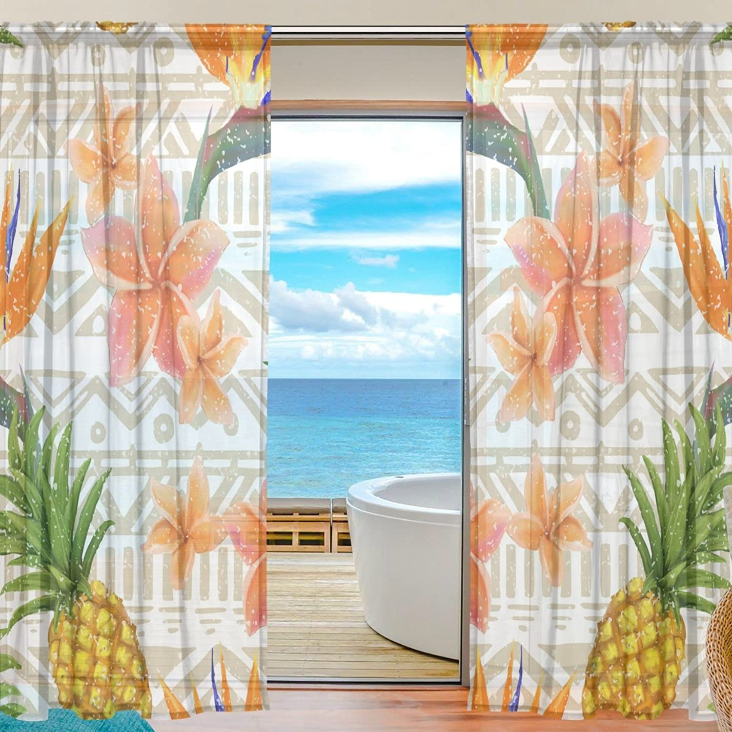 Vantaso Sheer Curtains 78 inch Long Tropical Exotic Flowers and Pineapple for Kids Girls Bedroom Living Room Window Decorative 2 Panels