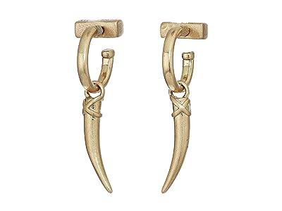 AllSaints Huggie Horn Drop Earrings (Warm Brass) Earring