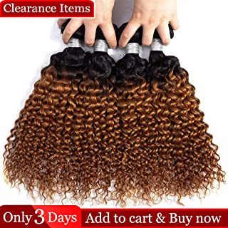 Dingfeng Hair Grade 7A Brazilian Kinkys Curly Human Hair Weave 4Bundles Ombre T1B/30 Color Jerry Curly 100% Unprocessed Virgin Hair Extensions Double Weft 268g (16161616)