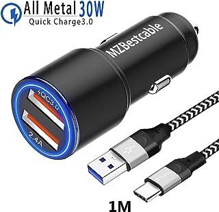 30W Cargador Coche Movil Rapido para Huawei P30 P20 P40 Mate 20 30 Lite Pro,P10 Plus,Mate 10 Pro,Honor 10 20 View,Nova 5T,P Smart Z/S,Oneplus 6T 7T 7,2 USB:Quick Charge 3.0+2.4A+1M Cable Carga Rápida