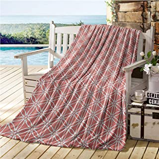 Jecycleus Coral, Weave Pattern Extra Long Blanket, Cool Simplistic Linear Sunflower Tied Bound Crochet Damask Floral Lace Tiles Motif, Lightweight Blanket Extra Big 90x70 Inch Coral White