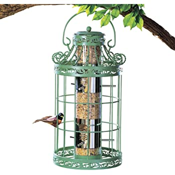 """Collections Etc Springtime Hanging Bird Feeder, Vintage French Country-Inspired Green Design, 7 3/4"""" L x 7 3/4"""" W x 16 1/2"""" H, Green"""