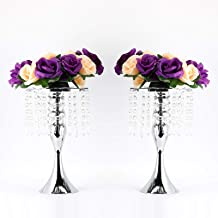 BBrand 2PCS Acrylic Imitation Crystal Candle Holder Stand Gold/Silver Flower Vase Wedding Centerpiece Lead Road Candlestic...
