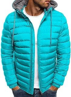 Howely Mens Padded Cotton Casual Hooded Lightweight Puffer Zipper Coat Outwear
