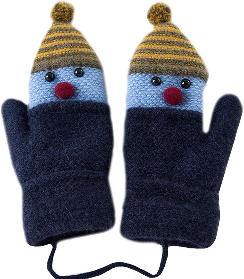 LABANCA Kids Knit Winter Warm Mitten Warm Snowman Gloves Mitten with String Kids Baby Soft Thick Fleece Lined Gloves