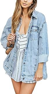 Women's Boyfriend Denim Jacket Long Sleeve Loose Jean Jacket Coats
