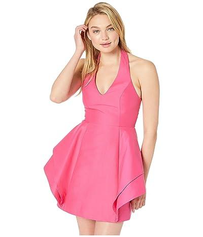 Halston Heritage Sleeveless Halter Dramatic Flounce Skirt Dress (Azalea 2) Women