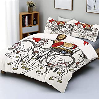 Duplex Print Duvet Cover Set King Size,Hellenic Man on the Chariot Drawn by Roman Horses Early Ages Equestrian ImageDecorative 3 Piece Bedding Set with 2 Pillow Sham,Multicolor,Best Gift For Kids & Ad