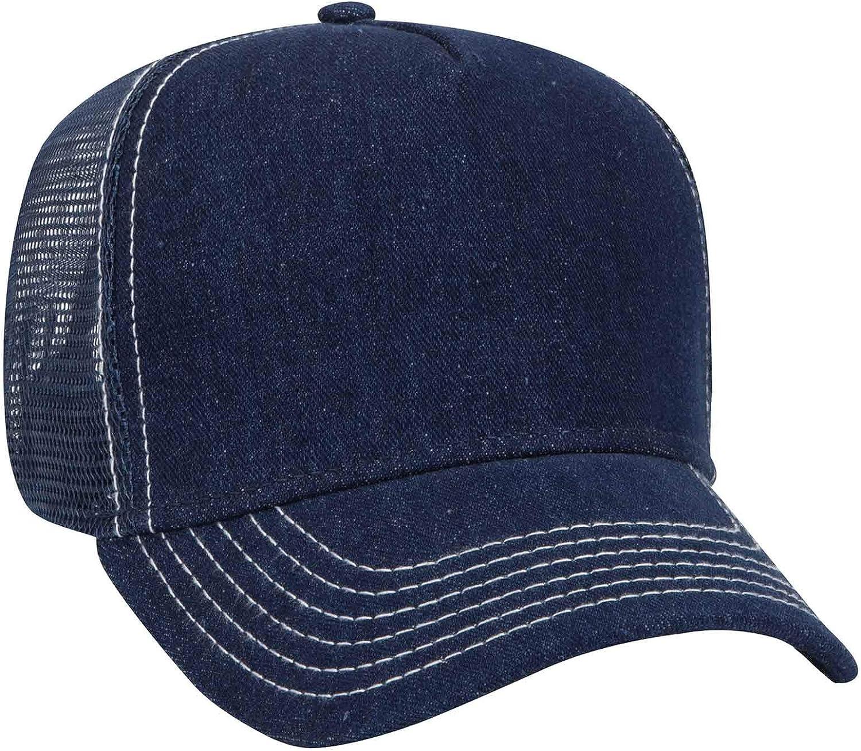 Otto Cap Five Panel Mid Profile Mesh Back Trucker Hat Denim