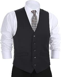 CHAMA Men's Formal Suit Vest Business Vest Dress Vest Waistcoat 5 Button Regular Fit