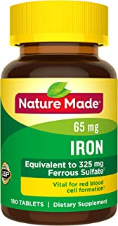 Nature Made Iron 65 mg (from Ferrous Sulfate) Tablets, 180 Count (Packaging May Vary)