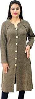 Matelco Women's Woollen Brown Button Long Coat with Pockets