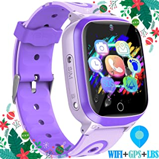 """Kids Smart Watches GPS Tracker - 12 Hrs Waterproof Smartwatch with 1.4"""" Touch Screen WiFi GPS LBS Track SOS 2 Way Call Voice Chat Pedometer Health Fitness Watch Chirstmas Gifts for Boys Girls (Purple)"""