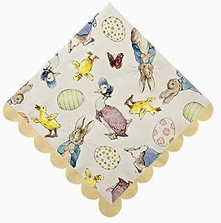 Meri Meri Beatrix Potter Peter Rabbit Luncheon Paper Napkins with Scalloped Edges, Yellow