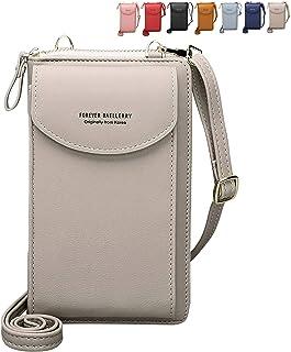 Crossbody Tasche Handytasche Brieftasche Damen Umhängetasche Geldbörse mit Credit Card Slots für Frauen (Grau)