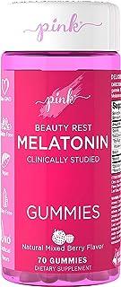 Pink Beauty Rest Melatonin for Women   10 mg Max Potency   70 Mixed Berry Flavor Gummies   Melt The Day Away   Vegan, Non-...