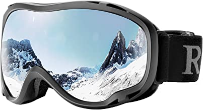 ReHaffe Small Frame Ski Goggles, Comfortable Snow Goggles for Glasses Antifog UV Protection Scratch Resistance Helmet Compatible for Adults Youth Skiing Skating and Snowmobile