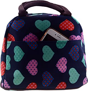 Wowlife Cute Love Heart Lunch Bag Tote Bag Lunch Organizer Lunch Holder Lunch Container Reusable Lunch Bags (Black)