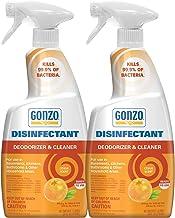 Gonzo Disinfectant Spray & Multipurpose Cleaner - 24 Ounce (2 Pack) Citrus - Odor Eliminator, Disinfectant, Flood Fire Water Damage Restoration