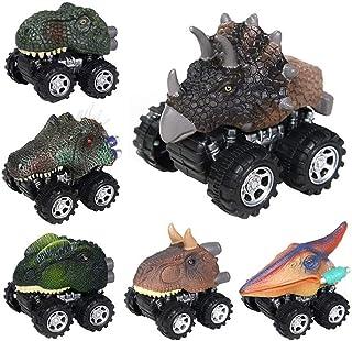 AM ANNA Dinosaur Cars,6 Pack Pull Back Dinosaur Vehicle Set, Mini Pull Back Animal Car Toy