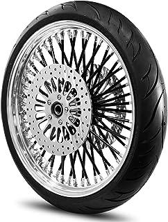 21X3.5 52 Fat Spoke Wheel for Harley Touring Bagger fits 2000-2007 Models w/Tire & Rotors (w/bolts) (Black Spokes & Black ...