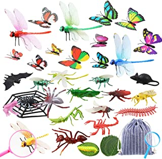 Auihiay 34 Pack Plastic Insect Figures Toys Kit Includes Assorted Bugs, Lifelike Butterfly, Dragonfly, Magnifying Glass and Leaves for Children Education Insect Themed Party
