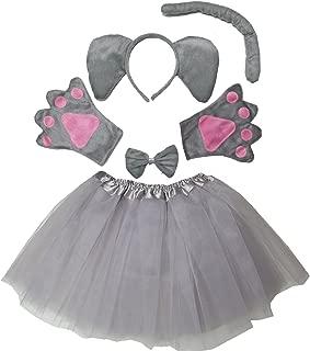 Kids Girls Animal Costume Ears Headband Bowtie Tail Tutu Paws Set