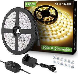 Lepro LED Strip 10M Set, LED Streifen Warmweiss Dimmbar, 600 LEDs Band Lichter Selbstklebend, Lichtband Warmweiß 3000K, Su...