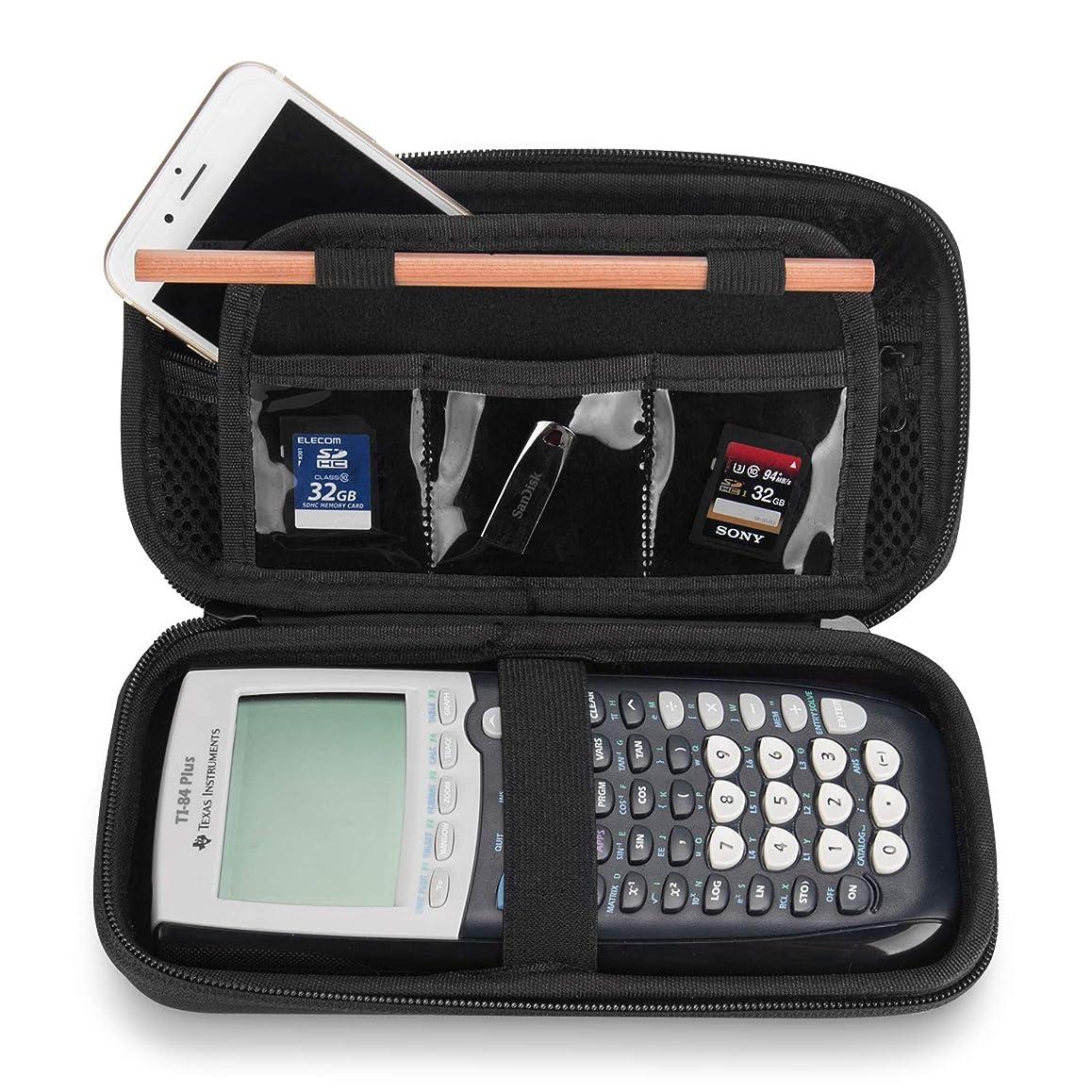 ミンチ興味コンパスProCase [電卓用] EVA ハードケース 防水 衝撃吸収 トラベル収納ポーチ 適用機種:Texas Instruments Ti-84 Plus グラフ電卓 -ブラック