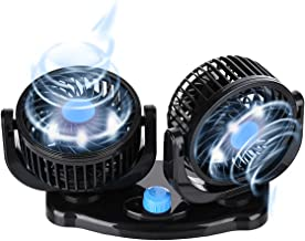 Car Air Fan Electric 12V Fan Cooling Air Fan,Powerful Quiet 2 Speed Wind Fan 360 Degree Rotatable Dashboard Cooling Fans Summer Cooling Fan Air Circulator for Van SUV RV Boat Auto Vehicles Golf