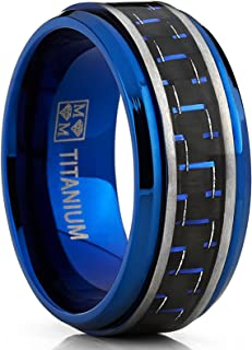 Men`s Brushed Blue Titanium Wedding Bands Ring with Black and Blue Carbon Fiber Inlay, 9mm Comfort Fit