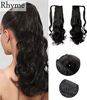 """Dark Brown Ponytail Clip in Hair Extensions Natural Long Curly Wavy Wrap Around Wig 110g 20"""" by Rhyme - Drawstring Tie Up Pony Tail Hair piece For Women Girls Lady"""