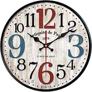 YeYo Simple European Style Wall Clock Wooden MDF Waterproof Silent Art Decor for Home Living Room Office Decoration (12 inch)