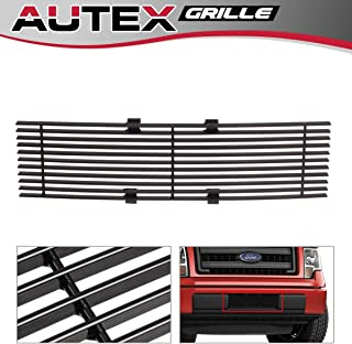 AUTEX F66789H Black Powder Coated Aluminum Horizontal Billet Lower Bumper Grille Insert Compatible With Ford F150 2009 2010 2011 2012 2013 2014 Lower Grill Insert