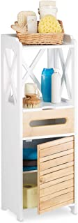 Relaxdays Petite armoire étagère avec 5 niveaux salle de bain cuisine rangement multi-fonctions, blanc