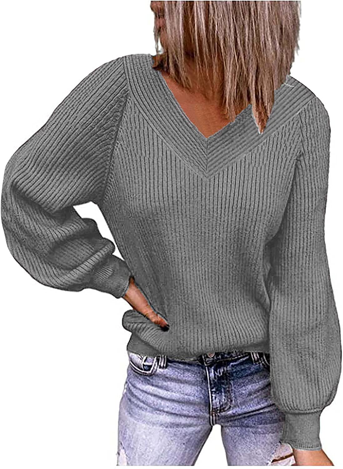 977 Solid Plus Size Sweater for Women Casual Long Sleeve V-Neck Loose Blouse Pullovers Loose Knitted Autumn Tunics