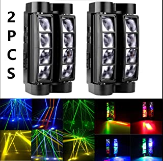 XPC Spider Moving Head light, DMX-512 Portable Stage Light with 8x3W RGBW 4 Color LED Lamp for DJ KTV Disco Party by (2Pack)
