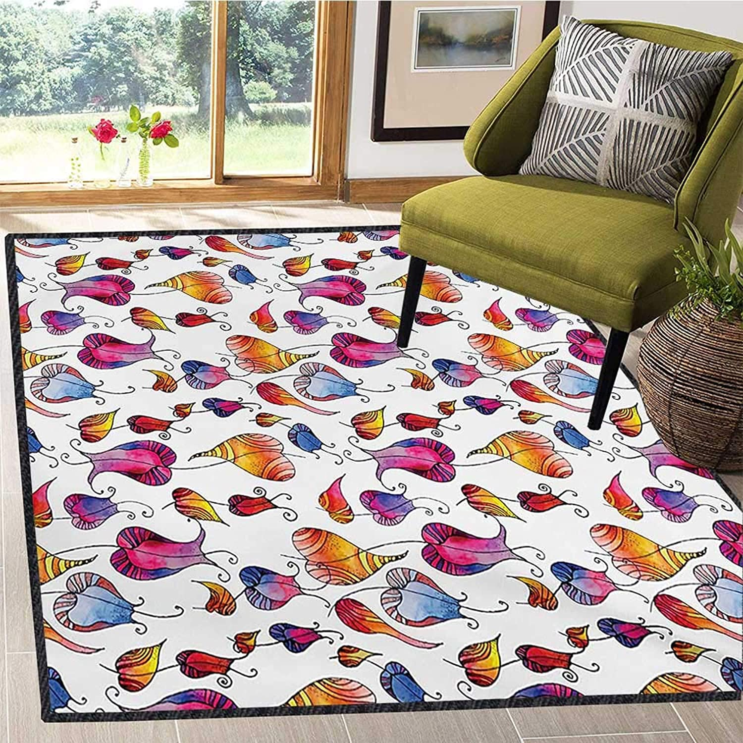 colorful, Door Mats for Inside, colorful Watercolor Tulips with Doodle Drawing Style Blossoming Spring Flowers, Door Mats for Inside Non Slip Backing 4x6 Ft Multicolor