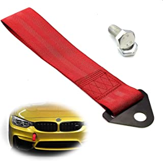 iJDMTOY Sports Red Racing Style Tow Strap Universal Fit for Front or Rear Bumper