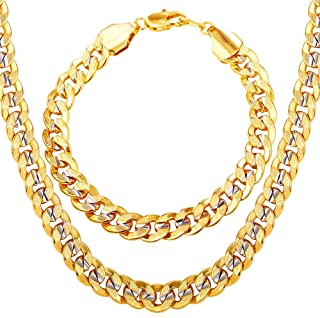 U7 Men Two-Tone Gold Chain Platinum & 18K Gold Plated...